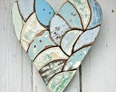 Mosaic Heart Made From Relcaimed Wood
