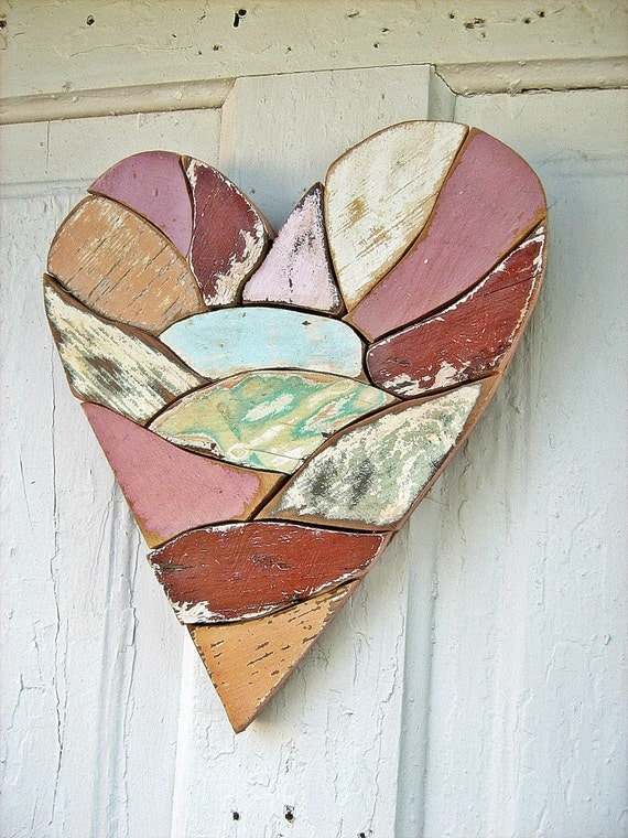 Reclaimed Wood Mosaic Heart