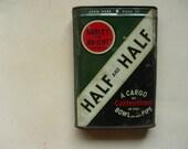 Vintage half and half tobacco tin pop up lid