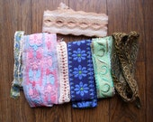 Lot of 7 ribbon lace trim embroidery edging