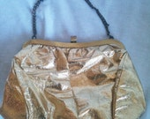Vintage sixties gold metallic classic formal clutch purse pouch