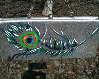 handpainted vintage silver clutch purse with peacock feather
