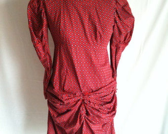 Vintage red paisley puffy shouldered bustled dress with long sleeves strangely sexy