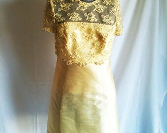Vintage Sixties Pastel Lemon Yellow Lace Beaded Shift With Matching Jacket Classic