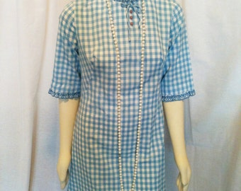 Vintage Stacy Ames Sweet Sixties Light Blue and White Gingham Shift Dress With Lace Small Medium