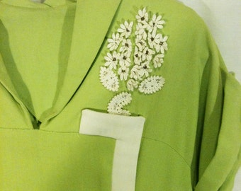 Vintage Bright Green with White Flowers 1950s Spring Summer Day Dress by Gene Rogers Juniors