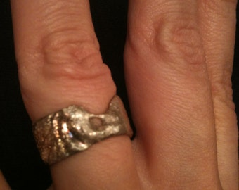 OOAK Handmade Fine Recycled Silver Rustic Freeform Wide Ring You MELT ME size 6