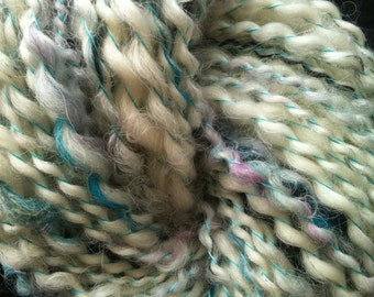 ooak skein of SNOW BANK ROBBERY white mix multi colored handspun thread plied thick and thin Art Yarn 63 yards Wool