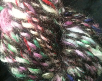 OOAK skein PRETTY in PUNK Pink and Raw Wool Hand Dyed Handspun 2 ply Bulky Art Yarn 93 yards