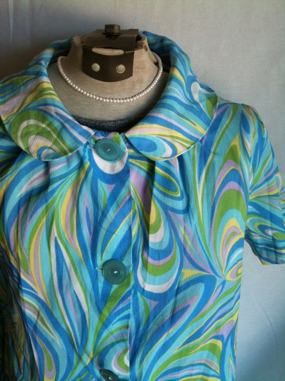 Vintage summer sixties tunic or minidress in pastel blue psychadelic paisley print