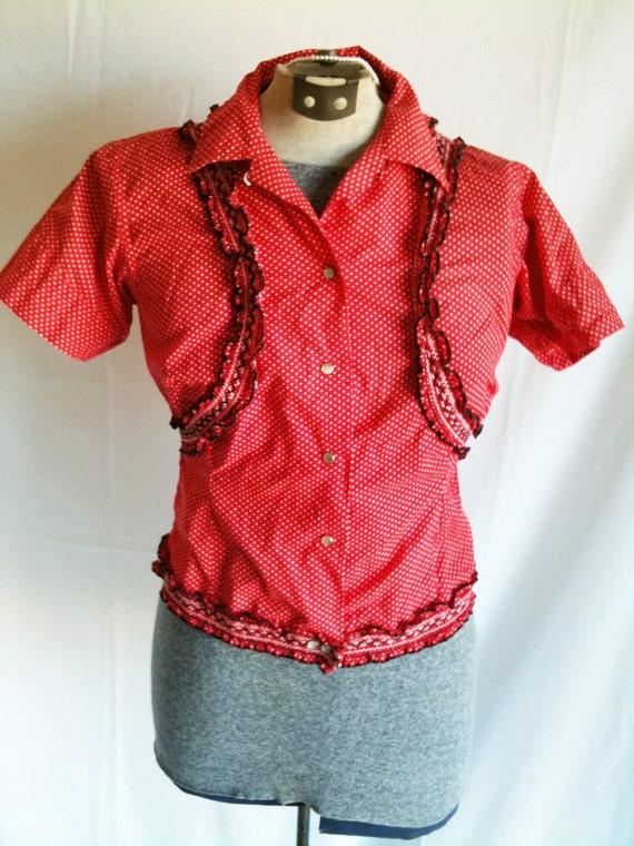 Vintage Red Polka Dot Rockabilly Western Shirt With Ruffles Sz Small Cute Cowgirl