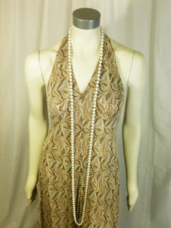 Vintage Seventies Sexy Disco Halter Maxi Dress in Brown Polyester Print