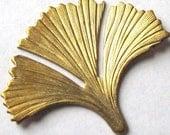 LOW Stock - Raw Brass Ginkgo Leaf Pendants (M735)