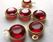 Vintage Light Siam Red Swarovski Rhinestone Crystal Channel Charms (12mm) (6X) (S524)