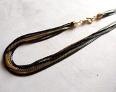 Vintage Trifari Multi Strand Black Enamel And Gold Plated Fox Tail Necklace (1X) (C640)