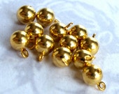 Vintage Brass Ball Drop Charms With Hole (16X) (V391)