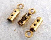 Vintage Antiqued Brass End Cap / Fold Over Crimp Findings (24X) (F503)