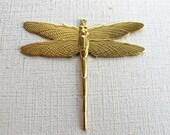 Large Brass Dragon Fly Pendants (2X) (M765)