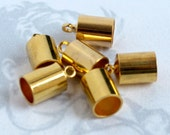 Gold Plated End Cap Findings (20X) (F520-A)