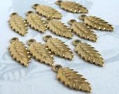 Tiny Brass Leaf Charms (12X) (M554)