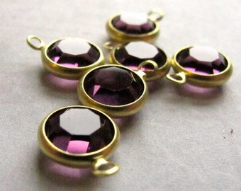 Vintage Amethyst Purple Swarovski Rhinestone Crystal Channel Charms (12mm) (6X) (S546)