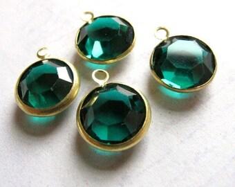 Vintage Emerald Green Swarovski Crystal Rhinestone Channel Charms (14mm) (4X) (S569)