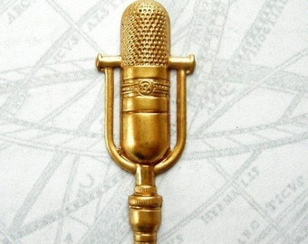 Raw Brass Microphone Charms (6X) (V297)