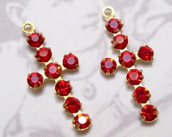 Vintage Swarovski Light Siam Crystal Brass Cross Charms (2X) (S545)