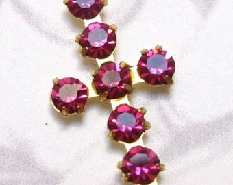Vintage Swarovski Crystal Siam Brass Cross Charms (2X) (S549)