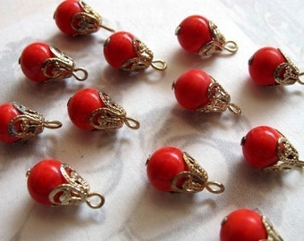 Vintage Japanese Red Glass Beaded Drop Charms (8X) (B611)