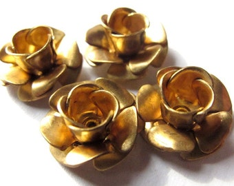 Vintage Raw Brass Tea Cup Flower Bead Charms (4X) (V450)