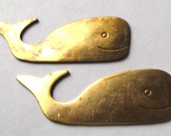 Raw Brass Whale Pendants (2X) (M621)