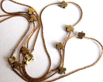 Vintage Brass 3 Leaf Clover Snake Chain Necklaces (2X) (C592)