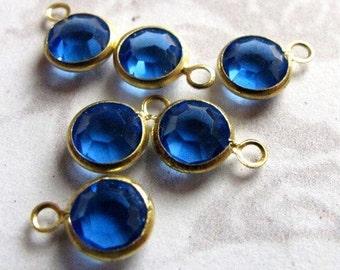 Vintage Blue Swarovski Crystal Rhinestone Crystal Charms (6X) (S568)