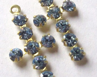 Vintage Light Sapphire Blue Swarovski Crystal Brass Cross Charms (2X) (S551)