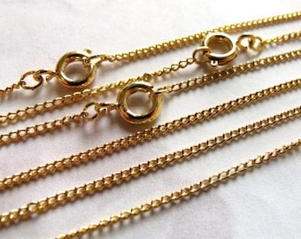 Vintage Gold Plated Curb Chain Necklaces (4X) (C680)