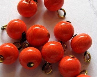 LOW Stock - Vintage Japanese Orange Swirl Beaded Glass Charms (12X) (B561)