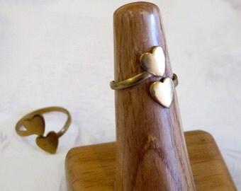 Raw Brass Double Heart Adjustable Rings (16X) (J607- B)