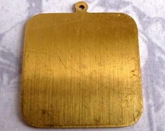 Brass Square Engraving Pad Pendants (4X) (M573)