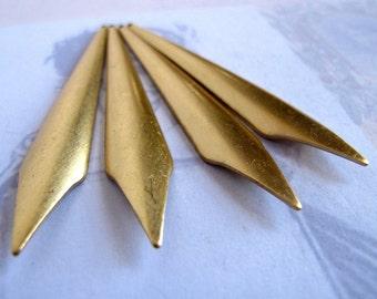 Brass Long Dagger Drop Pendants (4X) (M556-A)