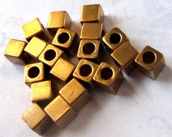 Vintage Brass Tiny Cube Beads (30X) (V440)