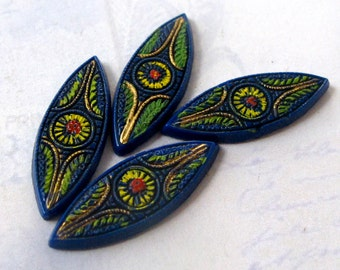 Antique Blue German Glass with Painted Eye Cabochons (4X) (CB532)