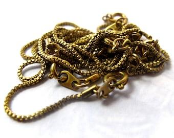 Vintage Brass Box Chain Bracelets (6X)  (C526)