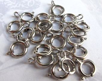 Rhodium Plated Spring Clasps (30X) (F562)