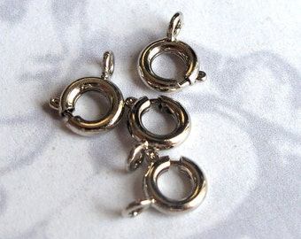 LOW Stock - Rhodium Plated  Spring Clasps (45X) (F569)