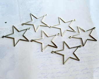 LAST Set - Rhodium Plated Star Connector Charms (16X) (V383)