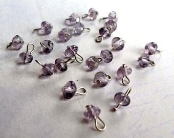 Vintage Purple Glass Beaded Charms (24X) (B614)