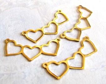 Vintage Gold Plated Triple Heart Charms / Pendants (4X) (V384)