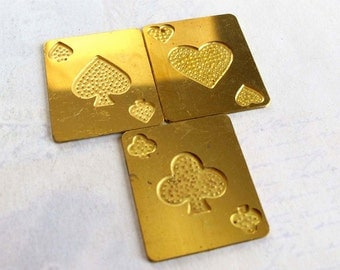 Vintage Hearts Clubs And Spade Brass Card Charm (3X) (V377)