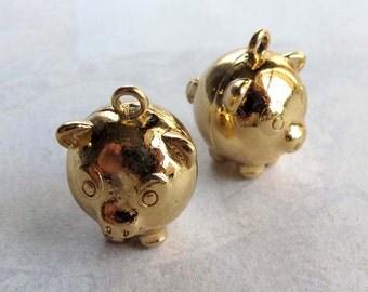 Vintage Gold Plated Piggy Bank Pendants (2X) (V372)